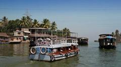 India. Houseboat on Kerala backwaters - stock footage