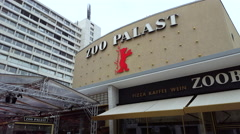 Zoo Palast theatre, Berlinale film festival, Bayer logo building, Berlin Stock Footage