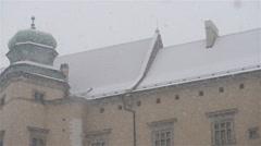Winter snow in Wawel in Krakow, Poland - stock footage