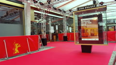 Empty red carpet, Berlinale film festival, Zoo Palast theatre entrance, Berlin Stock Footage