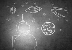 Dream to be astronaut - stock illustration