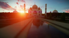 Taj Mahal beautiful sunset, panning Stock Footage