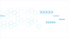 Blue arrows and hexagons motion on white background - stock footage
