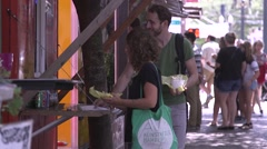 Portland Oregon SW 10th and Alder Food Carts Stock Footage