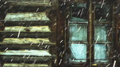 Snowing against the window and wall of an old wooden house Stock Footage