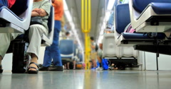 4K Crowd of People on Public Subway Metro Train, Commuter Train Transportation Stock Footage