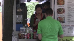 Portland Oregon SW 10th and Alder Food Carts - stock footage