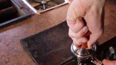 Espresso Grind Press Above Stock Footage