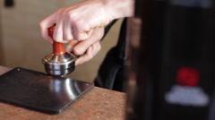Espresso Grind Press Dolly Stock Footage