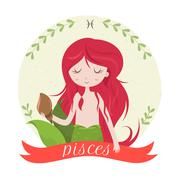 Stock Illustration of Zodiac signs Pisces. Vector illustration of the girl