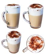 Coffee cappuccino chocolate chip and cinnamon, isolate on a white background. Stock Photos