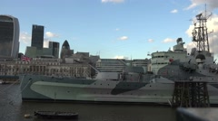 HMS Belfast, London, Uk, April 2016 Stock Footage