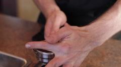 Espresso Top Grind Wipe Front - stock footage