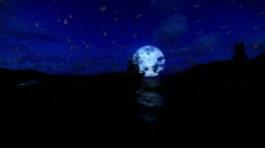 Beautiful full moon with fishing boat, windmill and seagull flying Stock Footage
