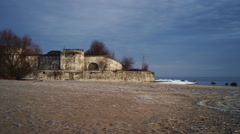 Kronshdadt fort 'RIF' in the coast of finnish gulf at april's early morning . - stock footage