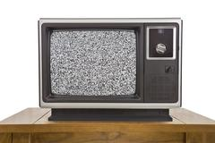 Old Television and with Static Screen Isolated on White - stock photo