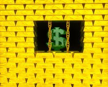 Dollar in gold cage Stock Illustration