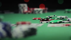 Chips Thrown in Poker Pot Slow Motion Stock Footage