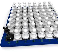 many pawns versus king - stock illustration