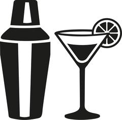Cocktail martini glass with shaker - stock illustration