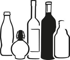 Alcohol bottles - stock illustration