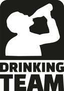 Drinking Team emblem with silhouette of drinking man - stock illustration