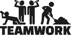 Teamwork - Some drinking alcohol one working - stock illustration