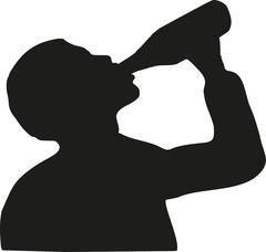 Man drinking beer silhouette - stock illustration
