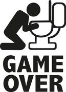 Game over after alcohol puking - stock illustration