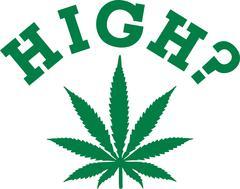 Marijuana leaf with high? - stock illustration