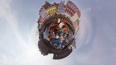 Ultra fisheye view of a tourist sightseeing boat turning the Nyhavn Canal Stock Footage