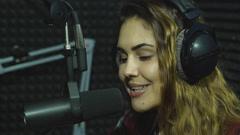 Radio DJ in studio - stock footage