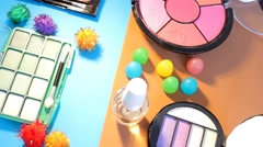 Stock Video Footage of Turning Table - Cosmetics - Bright Colours 01
