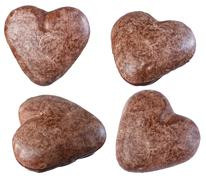 Chocolate cookies in heart shape isolate on a white background, different ang - stock photo