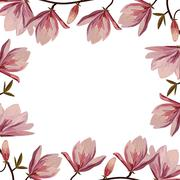 Stock Illustration of Beautiful frame with pink magnolia flowers