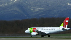 4K TAP Portugal plane on the take-off strips Stock Footage