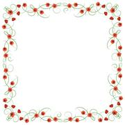 Delicate frame with red poppies - stock illustration