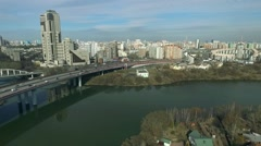 Aerial view of Moscow, Shchukino district, Russia Stock Footage