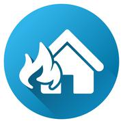 Fire Realty Damage Gradient Round Vector Icon - stock illustration
