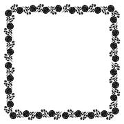 Delicate frame with black peony flowers - stock illustration