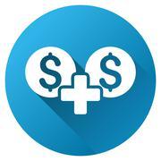 Money Sum Gradient Round Vector Icon - stock illustration