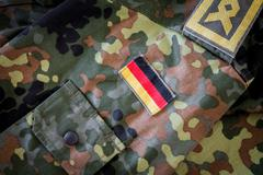 German flag and chief petty officer badge on german military jacket Stock Photos