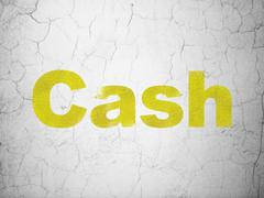 Banking concept: Cash on wall background - stock illustration