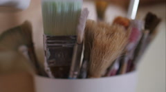 Brushes in a jar Stock Footage