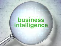 Business concept: Business Intelligence with optical glass - stock illustration
