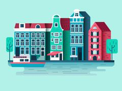 Amsterdam city design flat Stock Illustration