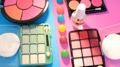 Turning Table - Cosmetics - Split Colours 01 Stock Footage