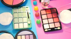 Stock Video Footage of Turning Table - Cosmetics - Split Colours 02