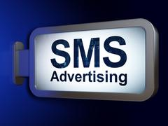 Marketing concept: SMS Advertising on billboard background Stock Illustration