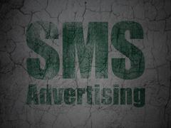 Advertising concept: SMS Advertising on grunge wall background Stock Illustration